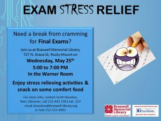 Exame Stress Relief is just one of many events for teens at the library. Source: Braswell Memorial Library, Rocky Mount NC.