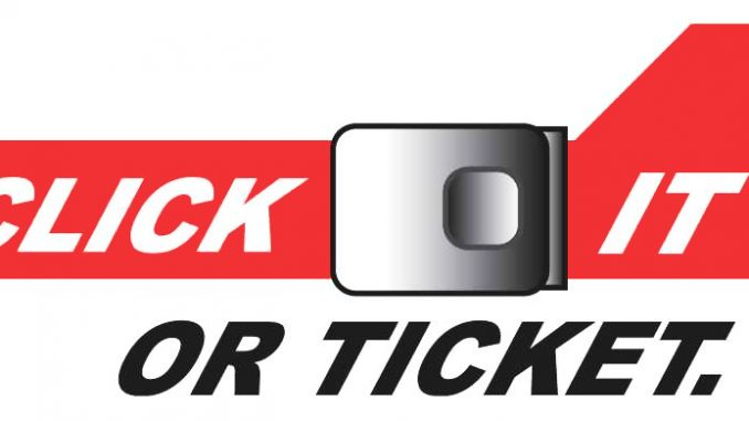 NC Click It or Ticket seat belt program logo. Source: NCDOT, Governor's Highway Safety Program, Raleigh NC.