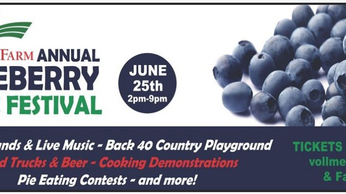 Vollmer Farm's Blueberry Music Festival returns in June 2016. Source: Vollmer Farm, Bunn NC.