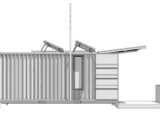 Sketch of the Lighthouse portable hotel structure. Source: Geoffrey Warner, Alchemy Architects, www.weehouse.com.