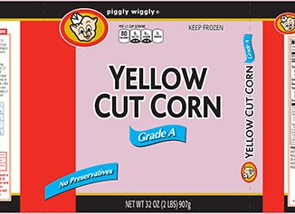 Piggly Wiggly cut corn recall label. Source: FDA.