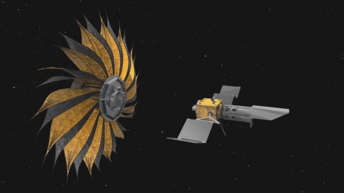 This illustration shows the prototype starshade, a giant structure designed to block the glare of stars so that future space telescopes can take pictures of planets. Source: jpl.nasa.gov.