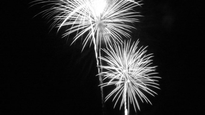 Fireworks black and white