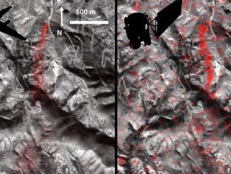 Comparison of detected methane plumes over Aliso Canyon, California, acquired 11 days apart in Jan. 2016 by: (left) NASA's AVIRIS instrument on a NASA ER-2 aircraft at 4.1 miles (6.6 kilometers) altitude and (right) by the Hyperion instrument on NASA's Earth Observing-1 satellite in low-Earth orbit. Credit: NASA-JPL/Caltech/GSFC.