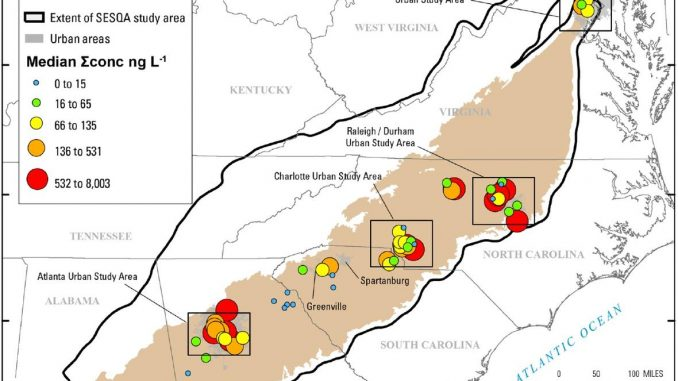 Cumulative median concentrations of pharmaceutical chemicals detected during the sampling conducted in June of 2014 in 59 small streams. The four urban study areas are shown in boxes, with details in the study. Source: USGS.gov.