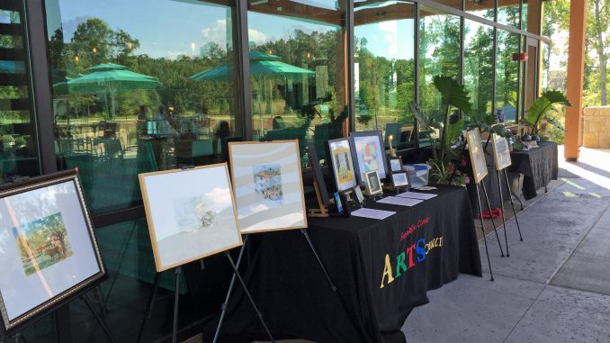Artist displays during Art At The Jam, Wendell Falls, Wendell NC. Source: Donna Campbell Smith, Franklin County Arts Council.