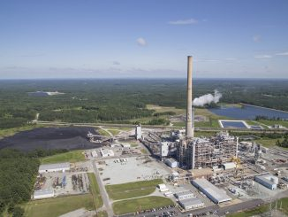 Dan River power plant, Duke Energy, Helicopter coal ash flyover. Photo credit: Sanjay Suchak.