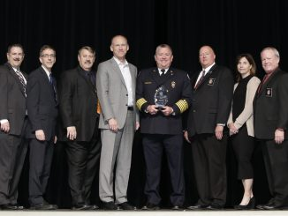 Fire Chief Mike Varnell (center) holding the award. He is pictured with the IAFC (International Association of Fire Chiefs) board. Source: Tameka Norman, City of Rocky Mount, NC.
