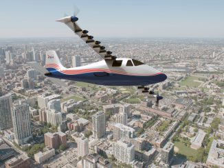 Artist's concept of NASA's X-57 Maxwell aircraft. NASA Aeronautics researchers will use the Maxwell to demonstrate that electric propulsion can make planes quieter, more efficient and more environmentally friendly. Credits: NASA Langley/Advanced Concepts Lab, AMA, Inc.