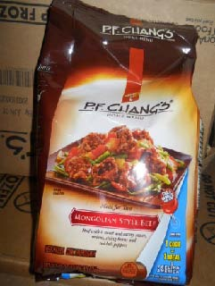 P.F. Chang's Home Menu Mongolian Style Beef label, part of the list released with the FSIS USDA recall. Source: USDA.gov.