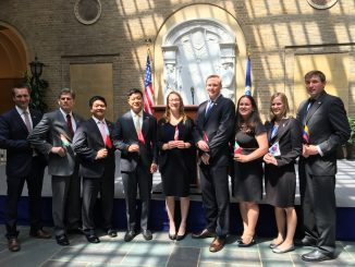 Ten newest agricultural officers sworn into the Foreign Service, from left to right: Sean Cox, Mark Wallace, Abraham Inouye, Gene Kim, Kirsten Luxbacher, Neil Mikulski, Mary Rose Parrish, Amanda Hinkle, and Ben Rau. Source: USDA Foreign Agricultural Service, Washington DC.