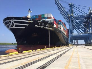 NC officials welcomed the largest containership to visit the Port of Wilmington NC. Source: NCDOT.