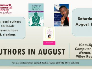 Braswell Authors in August event is August 13, 2016. Source: Braswell Memorial Library, Rocky Mount NC.