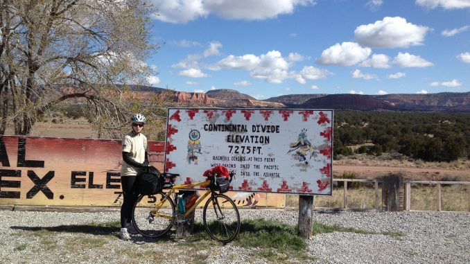 Waiwood at the Continental Divide during her CA to NY ride in 2014. Source: PRNewsFoto/Patricia Waiwood.