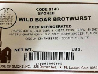 House of Smoke, Inc is recalling Wild Boar Brotwurst. Source: USDA.