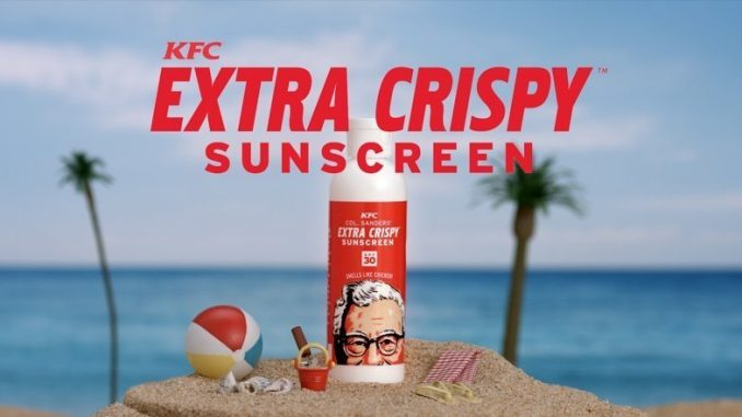 So many Americans wanted to lounge in the sun while smelling like KFC hand-breaded and freshly prepared fried chicken, that KFC made more fried chicken-scented sunscreen available and ran out in a day. Source: PRNewsFoto / KFC.