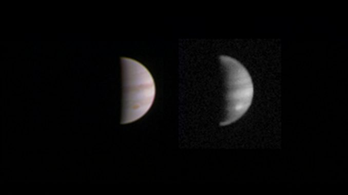 This dual view of Jupiter was taken on August 23, 2016, when NASA's Juno spacecraft was 2.8 million miles from the gas giant planet on the inbound leg of its initial 53.5-day capture orbit. Credit: NASA/JPL-Caltech/SwRI/MSSS.