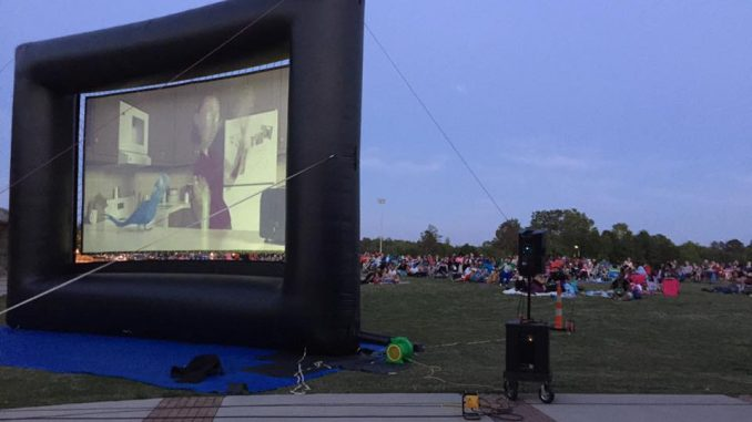 The crowd enjoying a Town of Knightdale outdoor movie screening. Source: Thomas Walls and Megan Thornton, knightdalenc.gov.