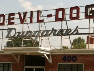 Devil Dog Dungarees textile factory sign, Zebulon NC. Photo: Frank Whatley.