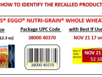 Kellogg's® Eggo® Nutri-Grain® Whole Wheat Waffles recalled for potential Listeria. Source: FDA.gov.