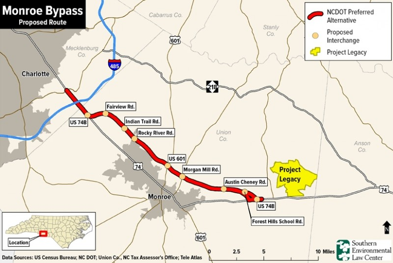 Settlement To Offset Harm From Monroe Bypass Announced The Grey - Map of the us 601 south below monroe nc