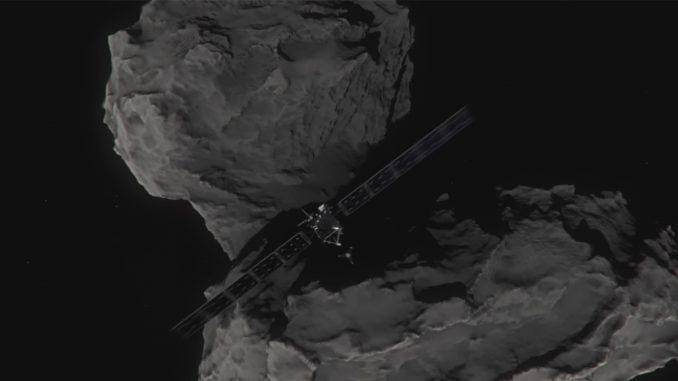 Artist's concept of Rosetta shortly before hitting Comet 67P/Churyumov-Gerasimenko on September 30, 2016. Image: ESA/ATG medialab.