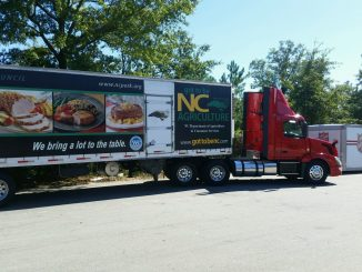 The Food Distribution Division has been making deliveries of USDA food products to assist disaster relief feeding efforts. This photo was taken today in Goldsboro, North Carolina. Source: NC Dept of Agriculture and Consumer Services, Raleigh NC.