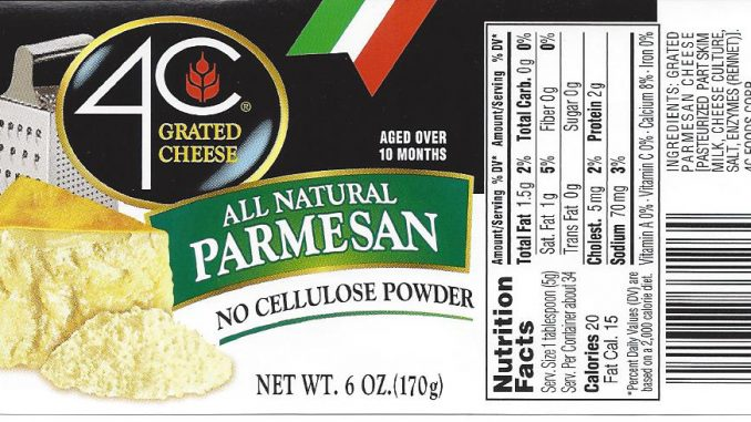 One of several cheese labels provided with the US FDA recall.