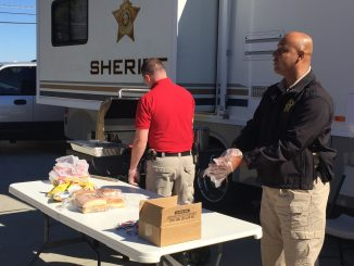Nash County Sheriff's Office hot dog giveaway in Middlesex NC. Photo: Kay Whatley