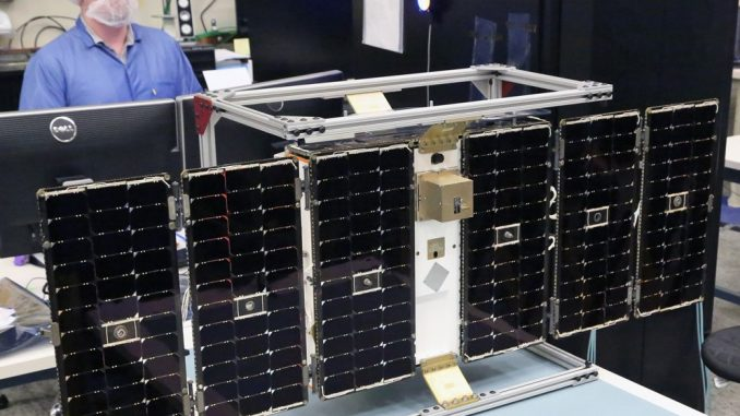One of eight microsatellites in the CYGNSS constellation under construction. Credit: University of Michigan.