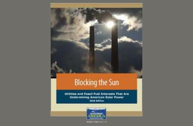 "Cover of ""Blocking the Sun"" report released by: Environment America Research and Policy Center, December 1, 2016."