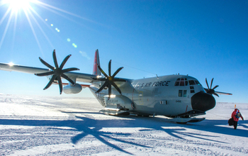 A ski-equipped LC-130 aircraft at NSF's Amundsen-Scott South Pole Station in a 2015 photo (not during the Aldrin evacuation). Credit: Mike Lucibella, National Science Foundation.