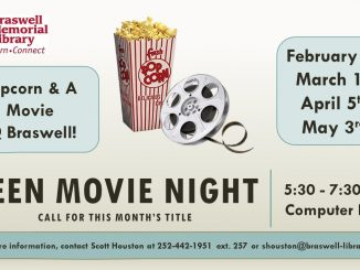 Teen Movie Night at Braswell Memorial Library. Source: Scott Houston, MLS Teen & Information Services Librarian.