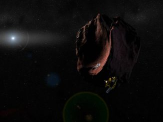 Artist's conception of NASA's New Horizons spacecraft encountering a Kuiper Belt object, part of an extended mission after the spacecraft's July 2015 Pluto flyby. New Horizons is set to fly past 2014 MU69 – a KBO currently about a billion miles (1.6 billion kilometers) beyond Pluto, on January 1, 2019. Credits: NASA/JHUAPL/SwRI
