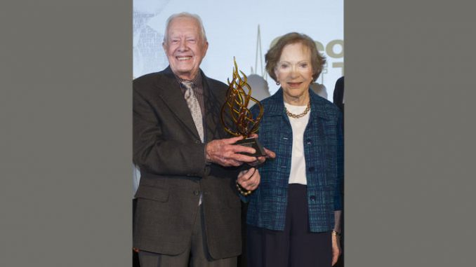 The Georgia Institute of Technology awarded the Ivan Allen Jr. Prize for Social Courage to former President and First Lady Jimmy and Rosalynn Carter February 17, 2017. Source: Georgia Institute of Technology.