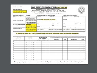 Example Soil Sample Form. Source: NCDA&CS, Raleigh NC.