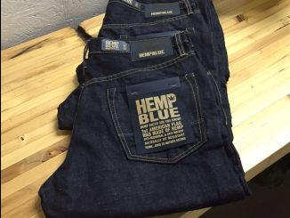 Hemp Blue jeans, clothing made with industrial hemp. Photo: Kay Whatley.