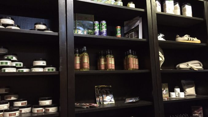 Hemp Inc. wall of hemp products in Spring Hope NC facility. Photo: Kay Whatley.