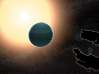 "The atmosphere of the distant ""warm Neptune"" HAT-P-26b, illustrated here, is unexpectedly primitive, composed primarily of hydrogen and helium. Credit: NASA/GSFC."