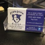 Blue Collie Coffee, Louisburg NC, business card. Photo: Kay Whatley.