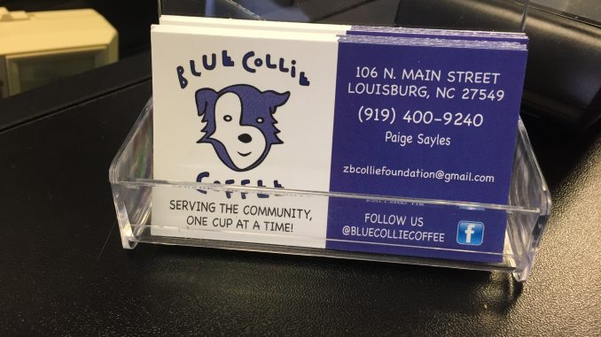 Blue Collie Coffee, Louisburg NC, business card. Photo: Kay Whatley.