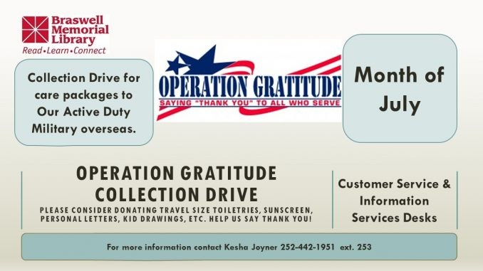 Operation Gratitude Collection Drive flyer. Source: Braswell Memorial Library