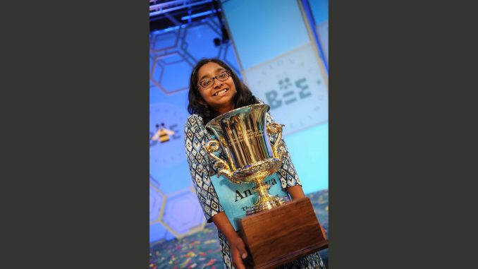 Ananya Vinay from Fresno, California, is champion of the 2017 Scripps National Spelling Bee. Credit: Mark Bowen / Scripps National Spelling Bee, PRNewsfoto/The E.W. Scripps Company.