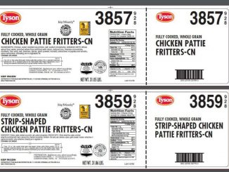 Two of the Tyson chicken product labels released with the USDA recall.