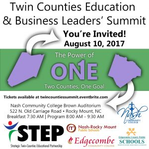 Twin Counties Education and Business Leaders Summit 2017 notice.
