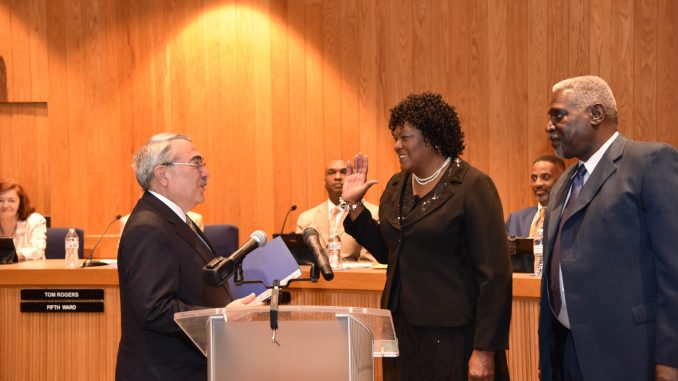 Congressman Butterfield with Small-Toney and Mr Toney. Source: City of Rocky Mount NC.