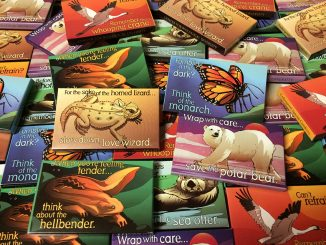 All Endangered Species condom packages for giveaway were designed by Lori Lieber with artwork by Shawn DiCriscio ©2015.