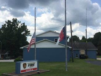 Eastern Wake Fire, Knightdale NC, flags flying at half staff. Photo: Kay Whatley (July 12, 2017)