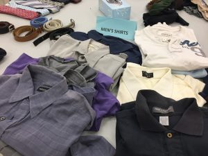 Men's shirts table at Knightdale giveaway. Photo: Kay Whatley