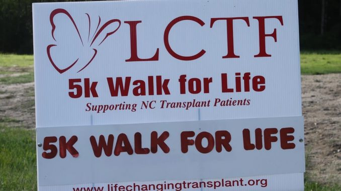 Event sign at Knightdale Station Park. Source: Life Changing Transplant Foundation.